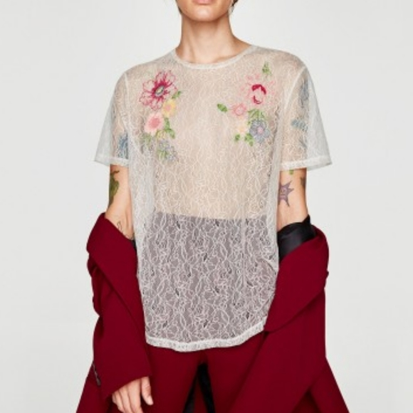 Zara Tops - Zara Sheer Lace Floral Embroidered Blouse